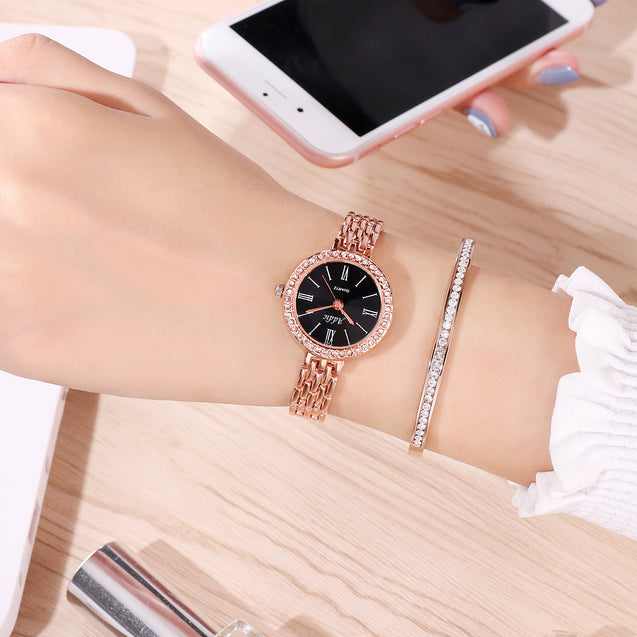 Addic Show Stopper Black Studded Rose Gold Watch For Women & Girls