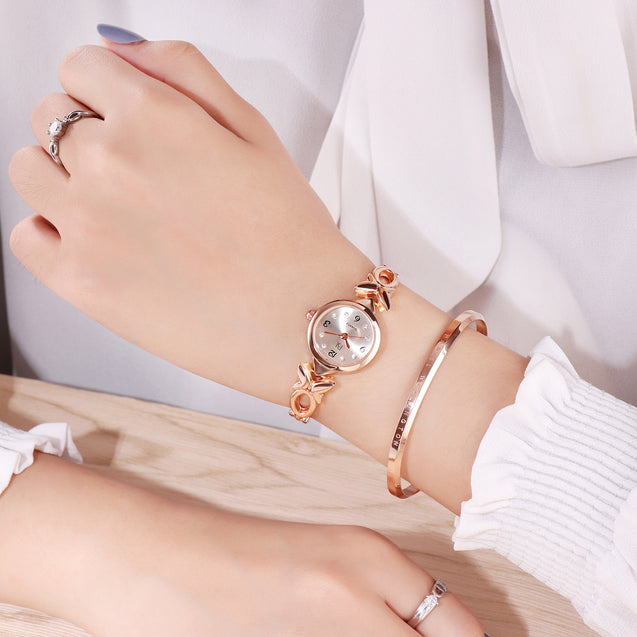 Addic BL Butterfly Vs Bowtie Stuningly Crafted Rose Gold Watch for Women & Girls.