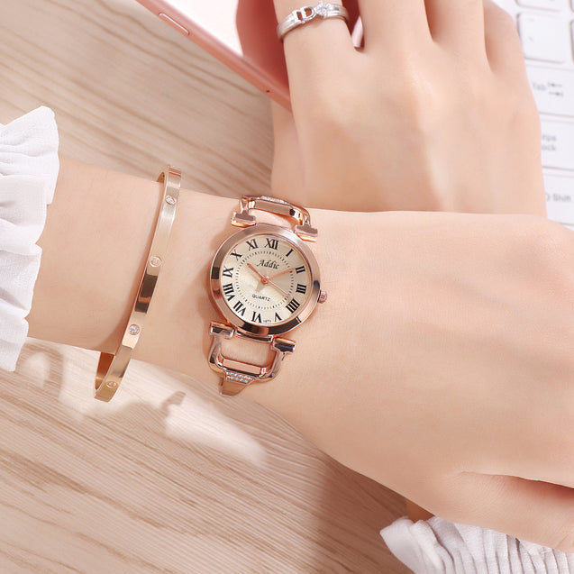 Addic Antique Link Locked Rose Gold Watch For Women & Girls