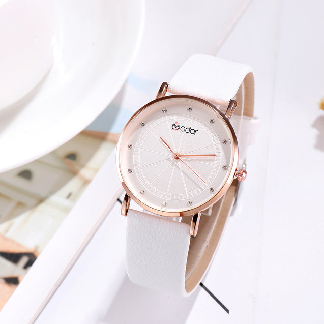 Modor Minimalist White Fashionista's Watch For Women & Girls