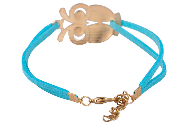 Addic Owl Lucky Charm Bright Blue Bracelet