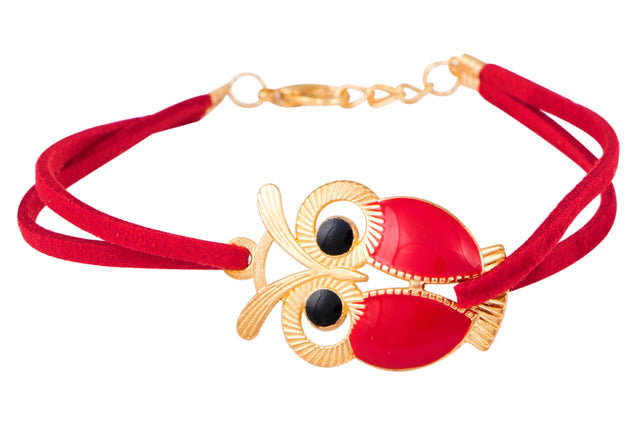 Addic Owl Lucky Charm Red Bracelet