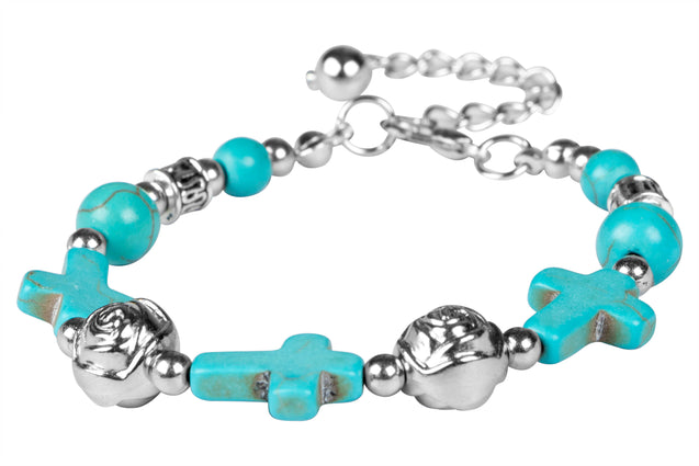 Addic Sky Blue Cross & Silver Rose Retro Bracelet