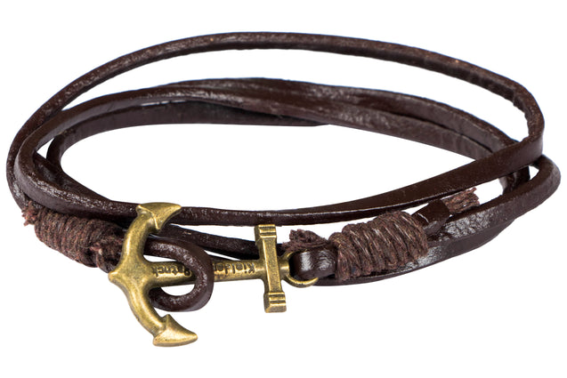 Addic Leather Anchor Charming Bracelet