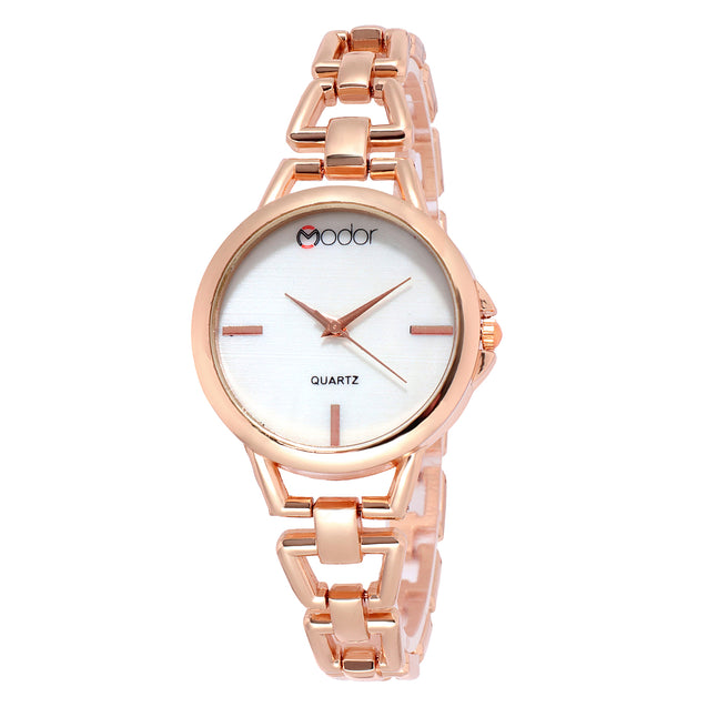 Modor Fashionista Rose Gold Formal / Casual / Party Wear Multi Purpose Wrist Watch For Women & Girls