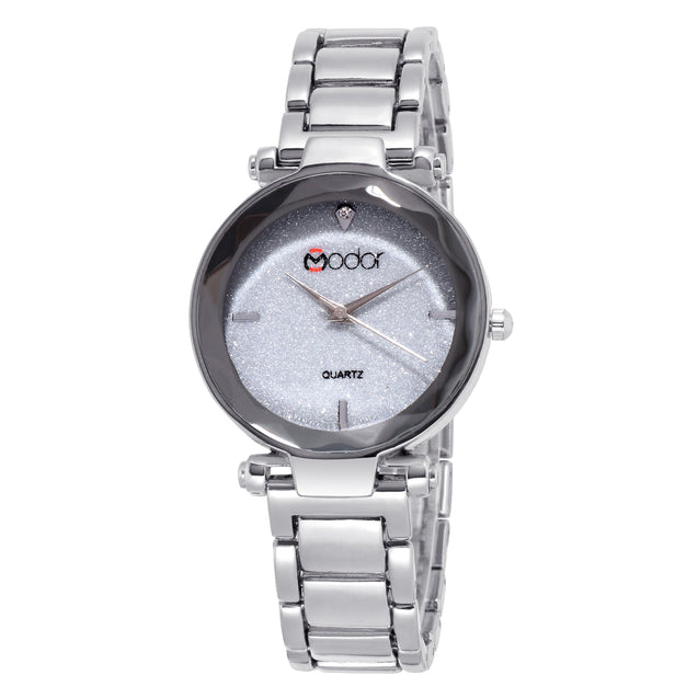 Modor Classy Crystal Silver Formal / Casual / Party Wear Multi Purpose Wrist Watch For Women & Girls