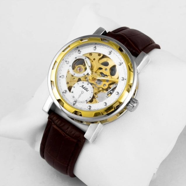 Addic Privilege Gold See-Through Mechanical Watch (Without Battery For Life!)