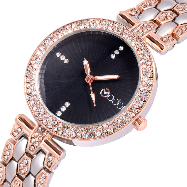 Modor Bling It On Dual Color Black Studded Chain Ultimate Party Wear Wrist Watch For Women & Girls