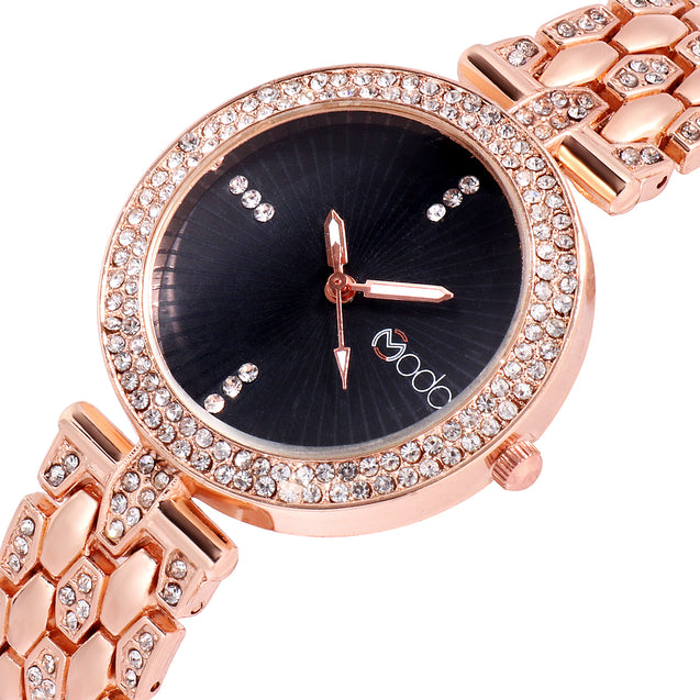 Modor Bling It On Rose Gold Black Studded Chain Ultimate Party Wear Wrist Watch For Women & Girls