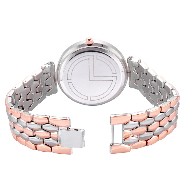 Modor Bling It On Dual Color Silver Studded Chain Ultimate Party Wear Wrist Watch For Women & Girls