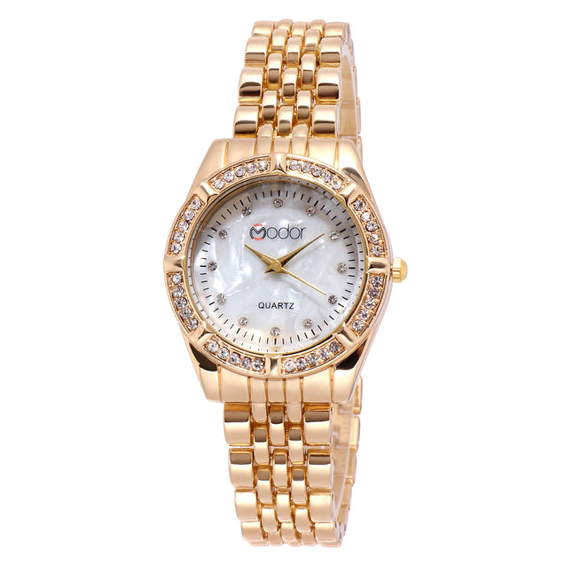 Modor Royal Elegance Gold Dial Formal / Casual / Party Wear Multi Purpose Wrist Watch For Women & Girls