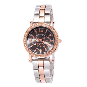 Modor Regality Intricately Carved Dual Color Black Formal / Casual / Party Wear Multi Purpose Wrist Watch For Women & Girls