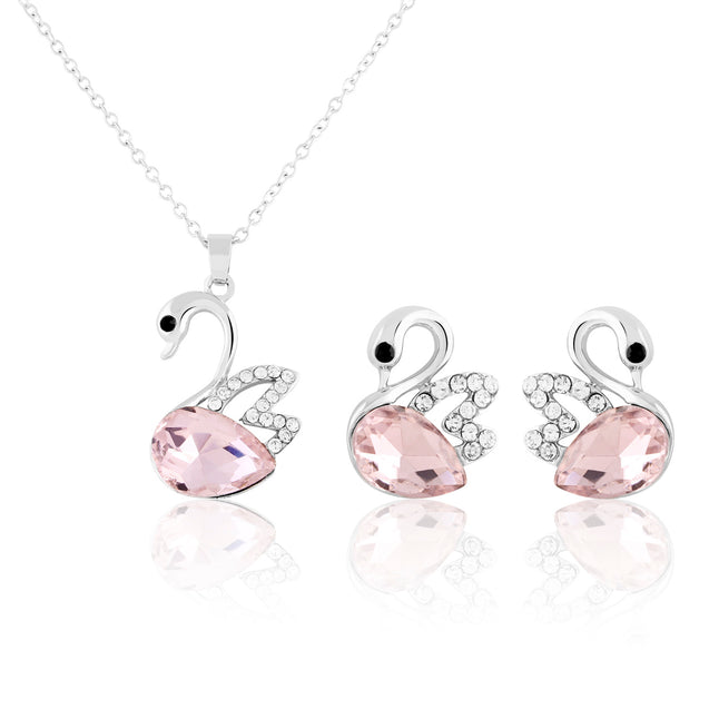 Addic Charming Swan Purple Dimaond Pendant & Earrings Set
