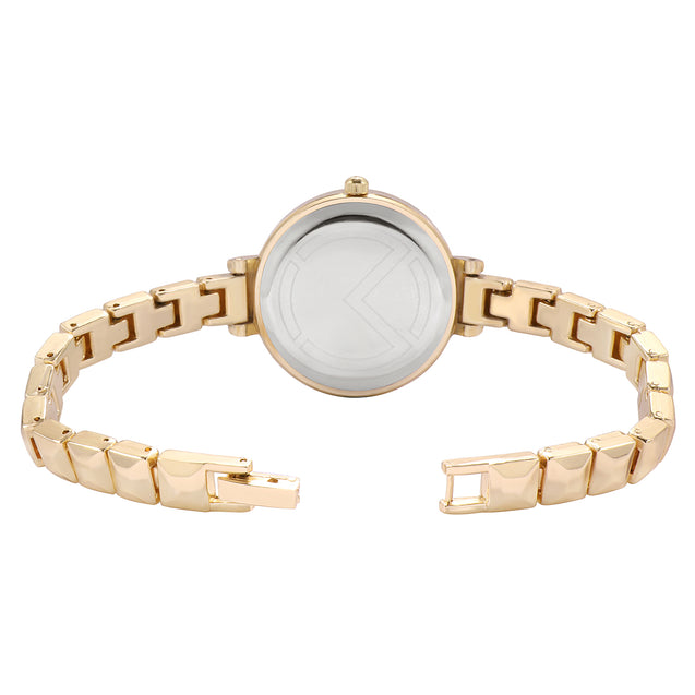Modor Chunks Of Charm Gold Formal / Casual / Party Wear Multi Purpose Wrist Watch For Women & Girls