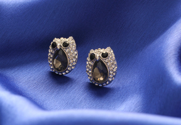 Addic Cute Diamante Faux Crystal Night Owl Black Pendant & Eerrings Set