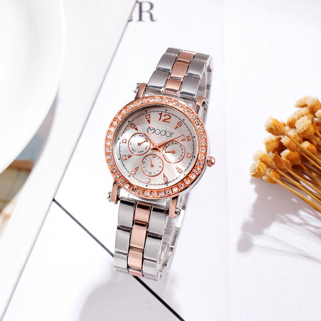 Modor Regality Intricately Carved Dual Color Silver Formal / Casual / Party Wear Multi Purpose Wrist Watch For Women & Girls