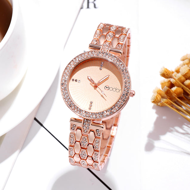 Modor Bling It On Rose Gold Silver Studded Chain Ultimate Party Wear Wrist Watch For Women & Girls