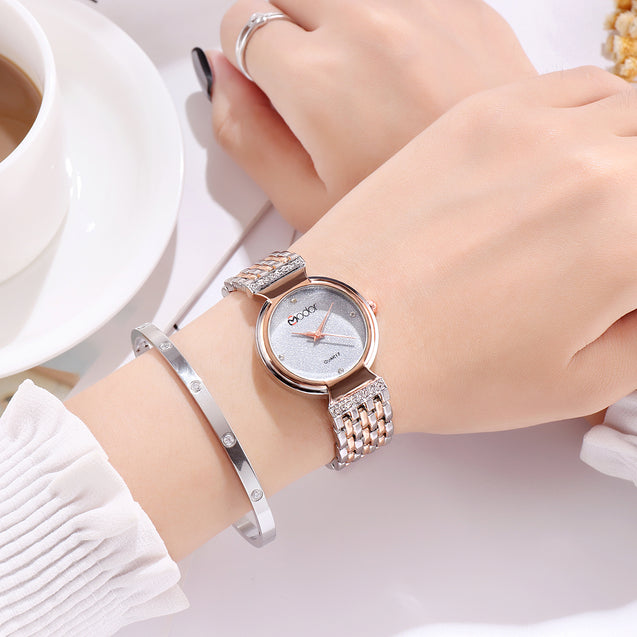 Modor Diva's Choice Dual Color Silver Formal / Casual / Party Wear Multi Purpose Wrist Watch For Women & Girls