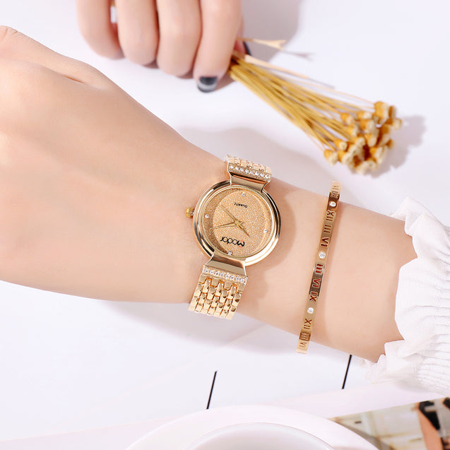 Modor Diva's Choice Gold Formal / Casual / Party Wear Multi Purpose Wrist Watch For Women & Girls