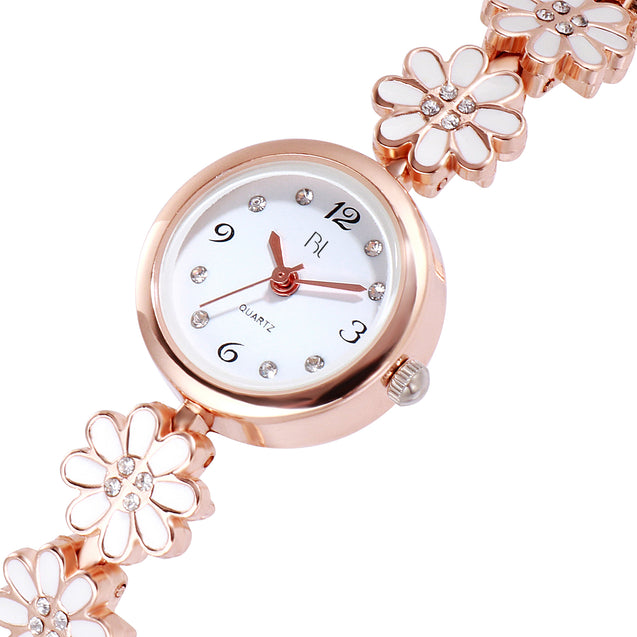 Addic BL Milky White Minimalist Rose Gold Watch for Women & Girls.