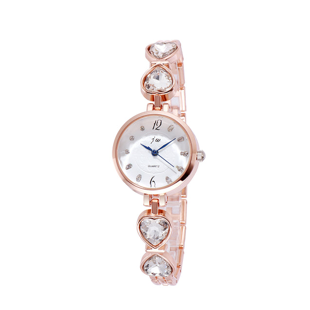 Addic Hearts Linked Studded Rose Gold Watch For Women & Girls