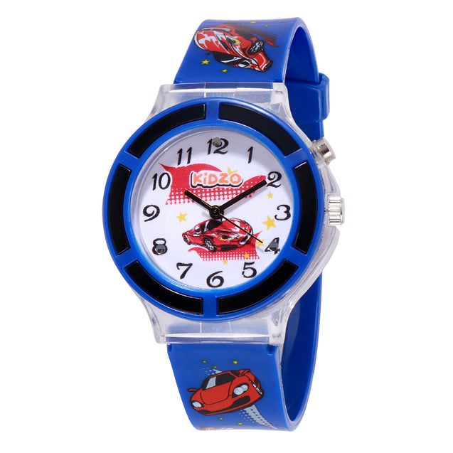 Kidzo Race Car Blue Boys Analog Wrist Watch With Push Button Light