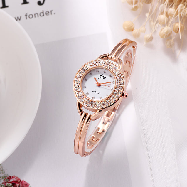 Addic Twinkle Stars Studded Rose Gold Formal / Party Wear Multi Purpose Watch For Women & Girls