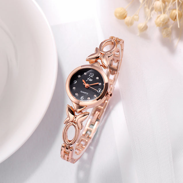 Addic Butterfly Vs Bowtie Rose Gold & Black Formal / Casual / Party Wear Multi Purpose Watch For Women & Girls
