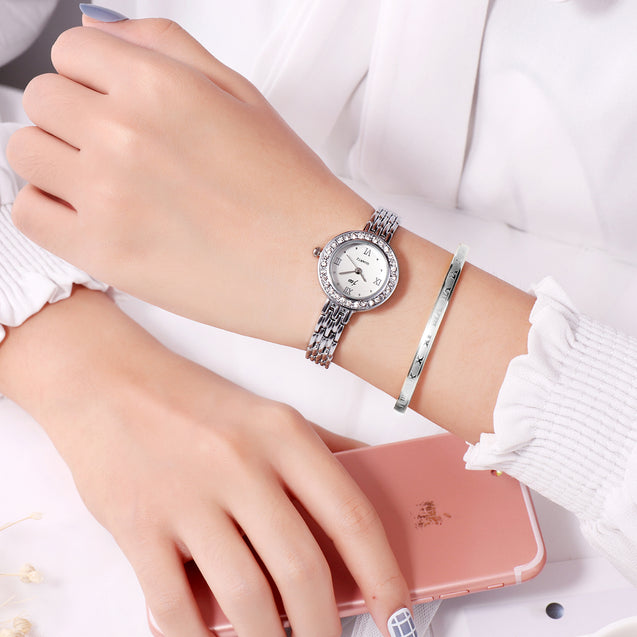 Addic Minimalist Classy Silver Formal / Casual / Party Wear Multi Purpose Watch For Women & Girls