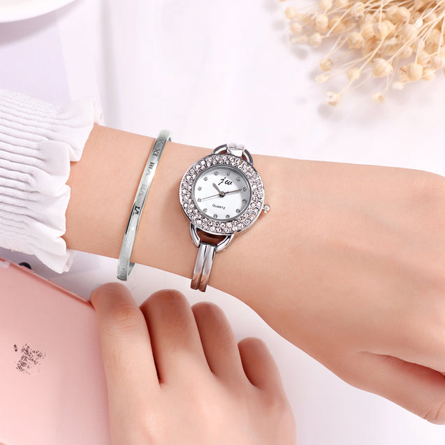 Addic Twinkle Stars Studded Silver Formal / Casual / Party Wear Multi Purpose Watch For Women & Girls