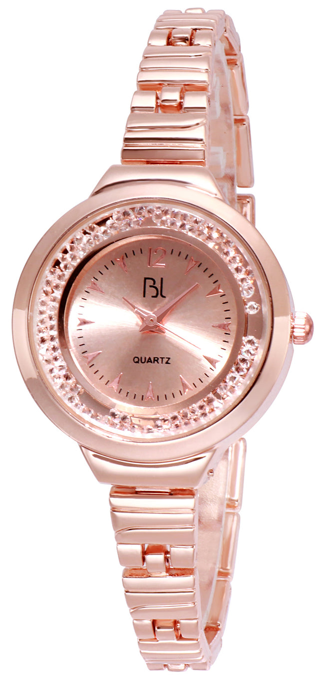 Addic BL Rolling Crystals Rose Gold Wrist Watch for Women & Girls.