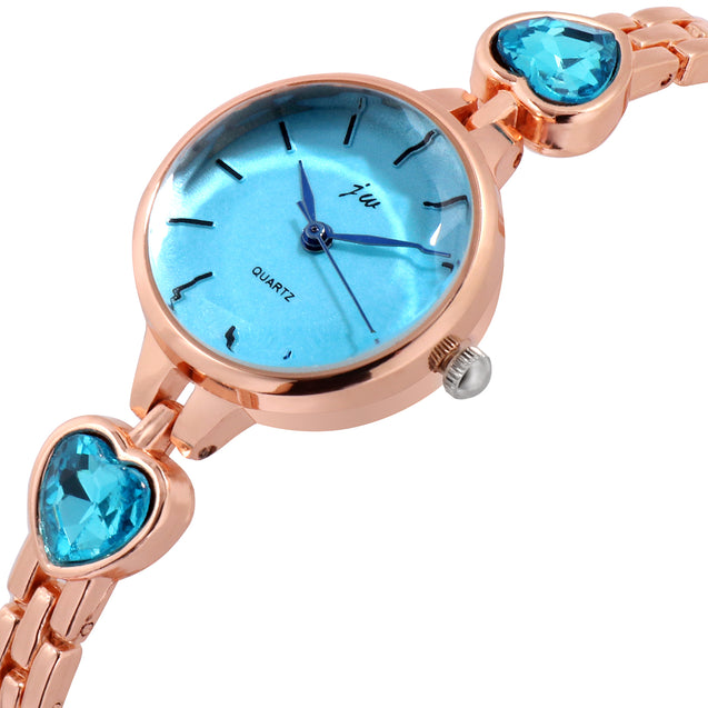 Addic Patakha In Blue Crystals Rose Gold Formal / Party Wear Multi Purpose Watch For Women & Girls