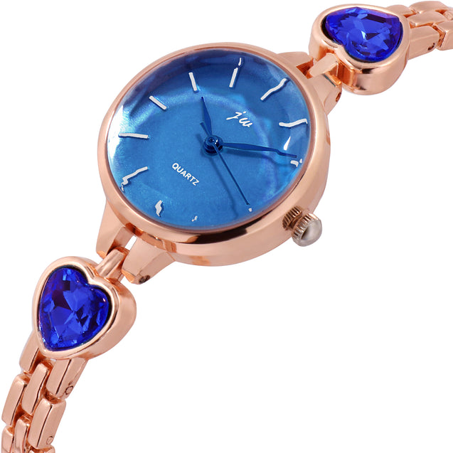 Addic Patakha Ocean Blue Crystals Rose Gold Formal / Party Wear Multi Purpose Watch For Women & Girls