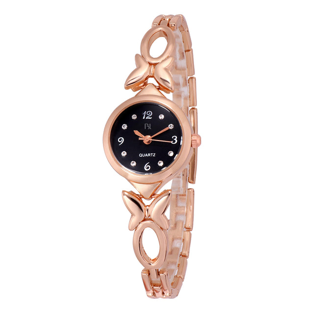 Addic BL Butterfly Vs Bowtie Rose Gold & Black Watch for Women & Girls.
