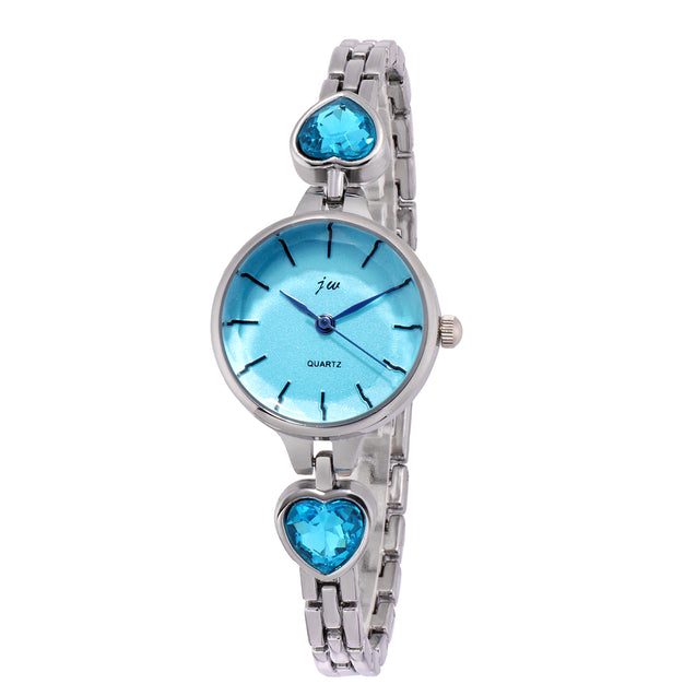 Addic Patakha In Blue Crystals Silver Formal / Casual / Party Wear Multi Purpose Watch For Women & Girls