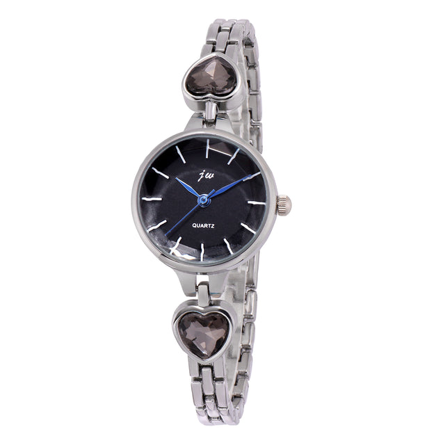 Addic Jet Black Crystals Hearts Silver Formal / Casual / Party Wear Multi Purpose Watch For Women & Girls