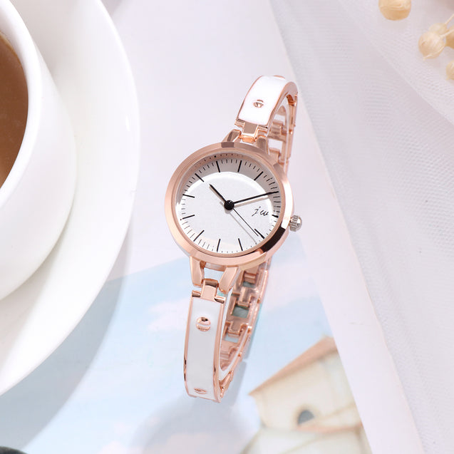 Addic Milky White Minimalist Rose Gold Formal / Casual / Party Wear Multi Purpose Watch For Women & Girls