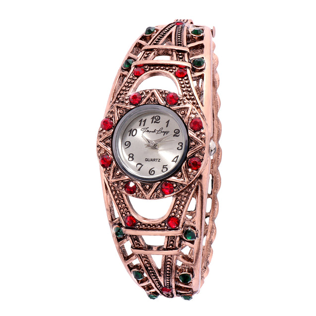 French Loops Eiffel Tower Red & Green Stone Studded Rose Gold Ethnic Party Wear Bracelet Watch