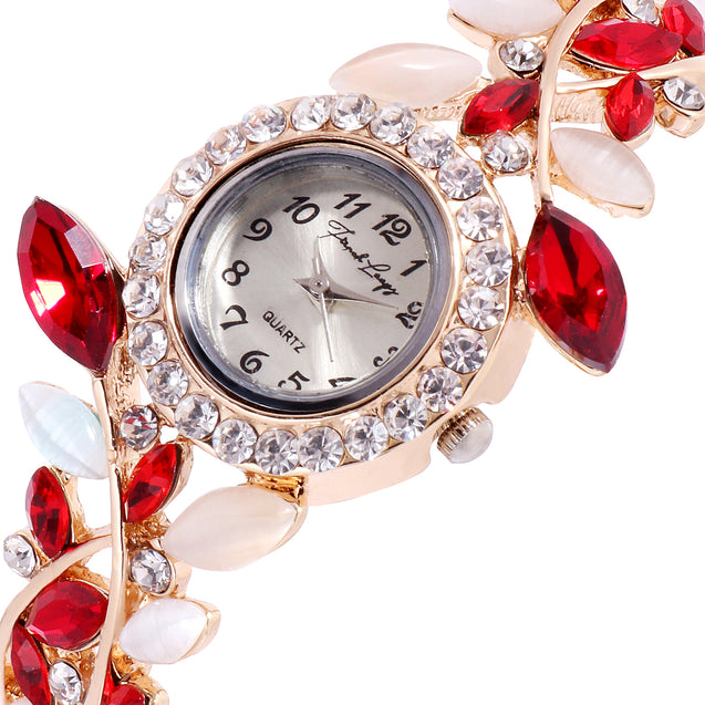 French Loops Gracefully Yours Red Stone Studded Rose Gold Ethnic Party Wear Bracelet Watch