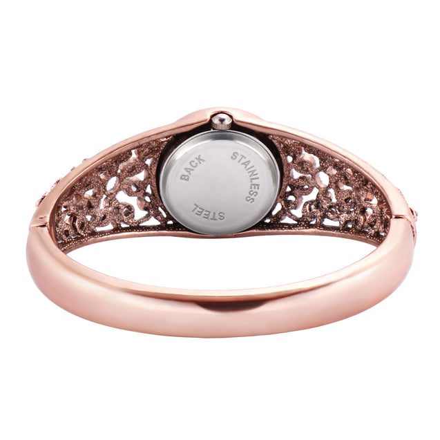 French Loops Shahi Khazan Red Stone Studded Rose Gold Ethnic Party Wear Bracelet Watch