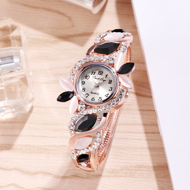 French Loops Hot Chick Black & White Stone Studded Rose Gold Party Wear Bangle Bracelet Watch