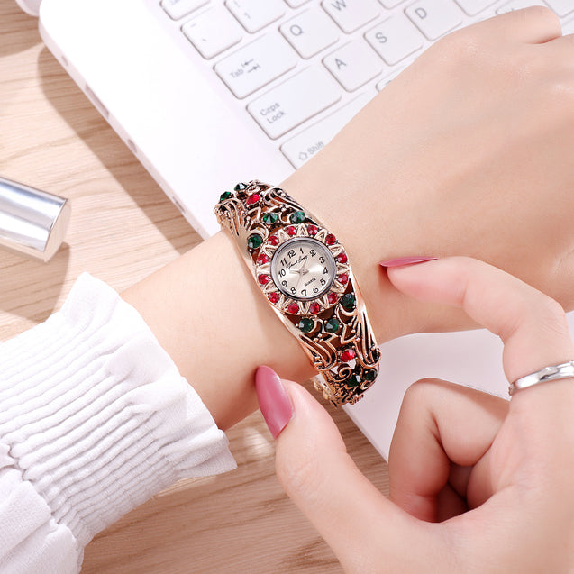 French Loops Begum's Jewels Multi Color Stone Studded Ethnic Party Wear Bracelet Watch