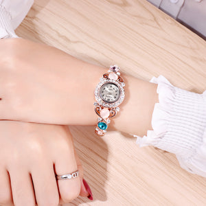 French Loops Stunningly Yours White Stone Studded Rose Gold Ethnic Party Wear Bracelet Watch