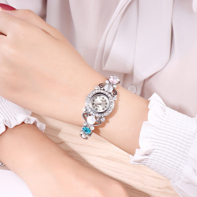 French Loops Fairly Elegant Blue Stone & Crystal Studded Party Wear Bangle Bracelet Watch