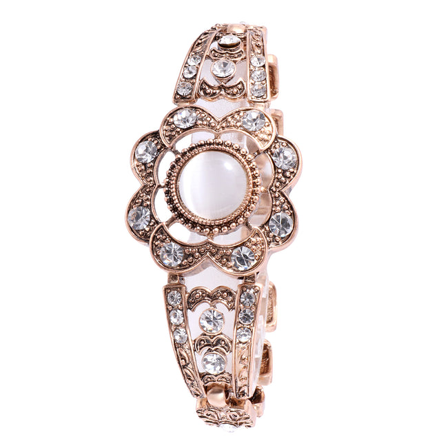 French Loops White Stone Crystal Studded Traditional Ethnic Stone Bracelet For Women & Girls