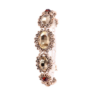 French Loops Gold Emeralds Traditional Ethnic Stone Bracelet For Women & Girls