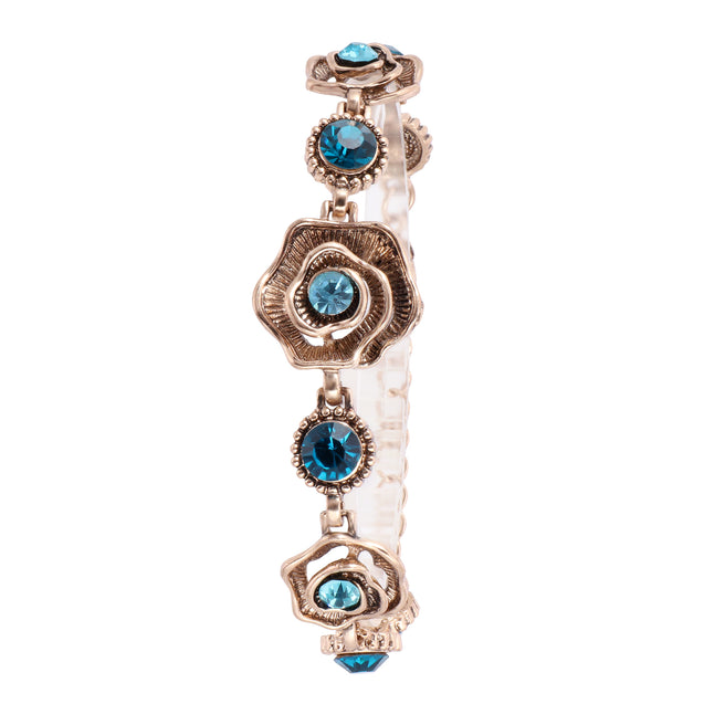 French Loops Blue Rose Traditional Ethnic Stone Studded Bracelet For Women & Girls
