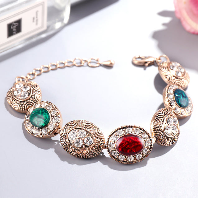 French Loops Multi Colored Emerald Traditional Ethnic Stone Bracelet For Women & Girls