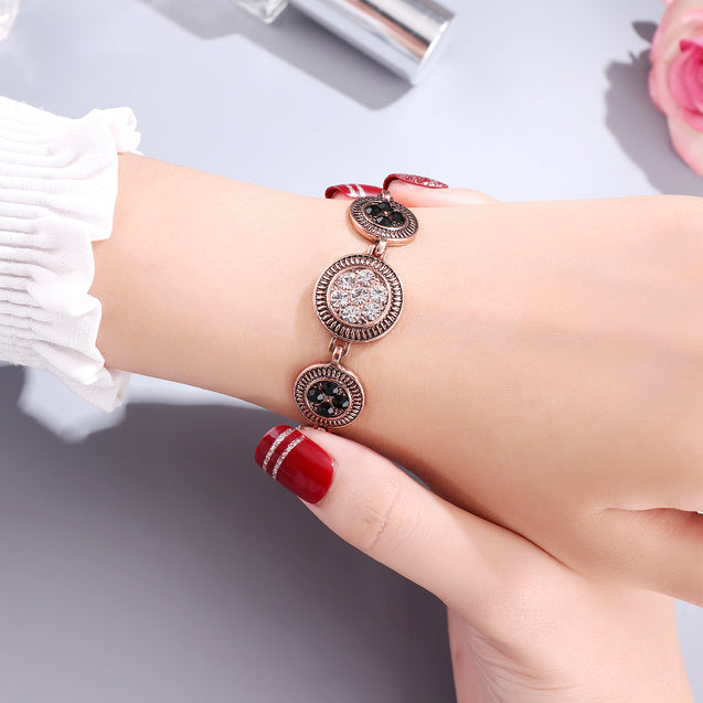 French Loops Black Stone Traditional Ethnic Studded Bracelet For Women & Girls