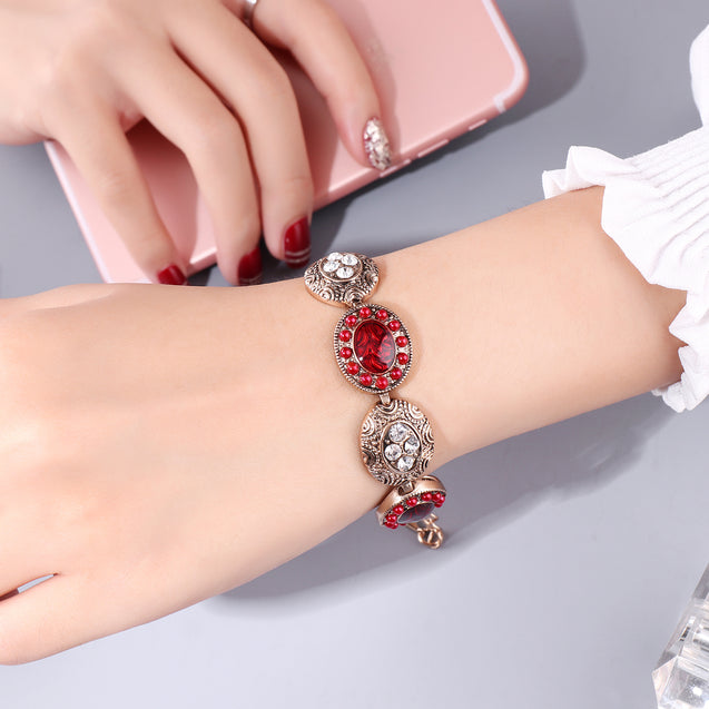 French Loops Red Art Traditional Ethnic Stone Bracelet For Women & Girls